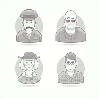 Таксист, вышибала из ночного клуба, элегантная старушка, ботаник, умный молодой человек. набор иллюстраций персонажей, аватаров и людей. черно-белый обрисованный в общих чертах стиль.