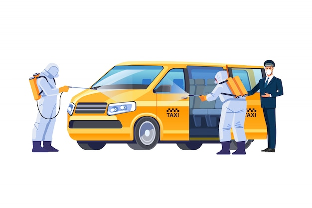 A taxi driver in a protective mask invites the passenger to sit in a spacious clean minibus. covid-19 or protection from the coronavirus pandemic. disinfection of the car. cartoon illustration