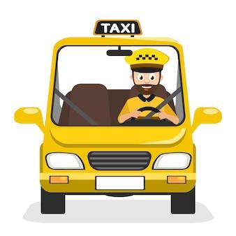 タクシーの運転手が白い背景に電話で車に乗る。