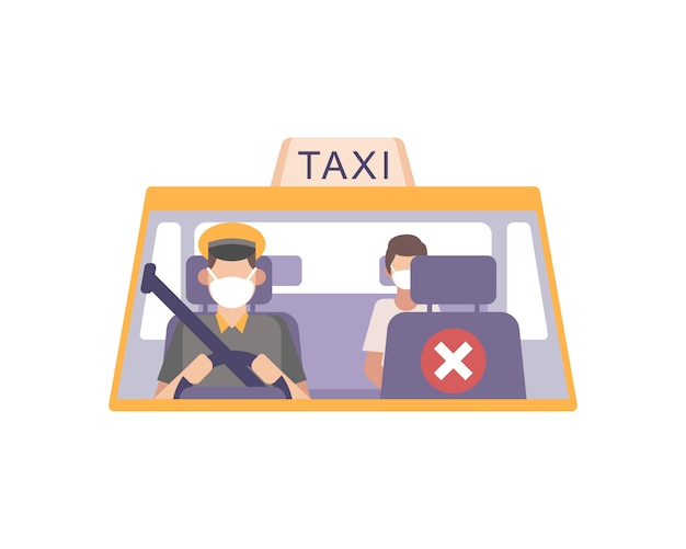 Taxi driver wear a face mask and drive his cab and practicing safety health protocols by emptying front seat social distancing from passenger illustration