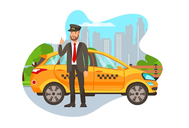Taxi driver with car isolated cartoon character