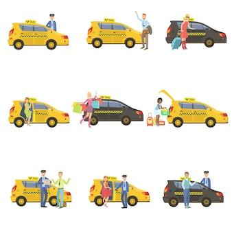 タクシー、ドライバー、クライアントセット