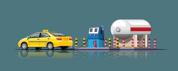 ガソリンスタンドでエネルギーをいっぱいにするタクシー