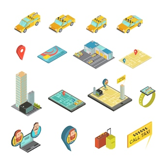 Taxi and gadgets isometric set including cars, houses, payment card, map, smart watch, baggage isolated vector illustration