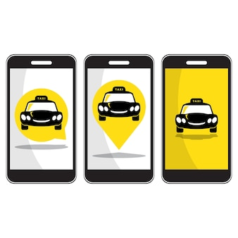 Taxi icon on smartphone