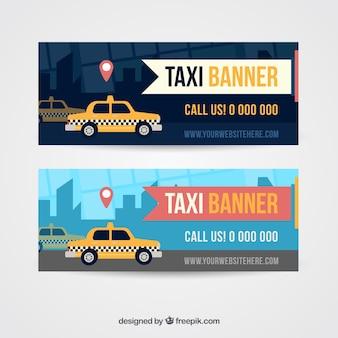도시 배너에 택시