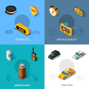 Taxi isometric 4 flat icons square