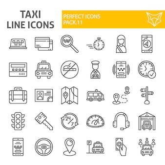 Taxi line icon set, car collection