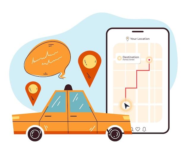 Taxi mobile app order city urban online service concept
