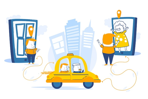 Taxi mobile app service in a city
