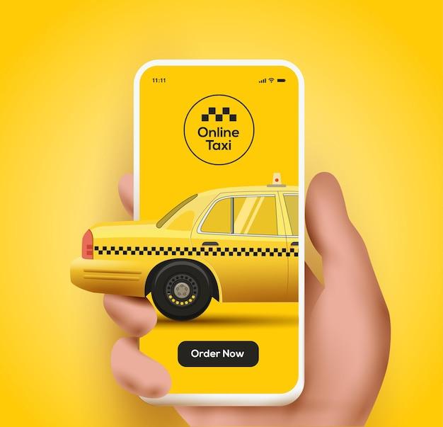 タクシーモバイルアプリケーションまたはタクシーオンラインコンセプトイラストの注文