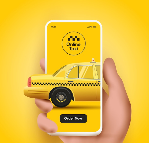 Taxi mobile application or ordering taxi online concept illustration