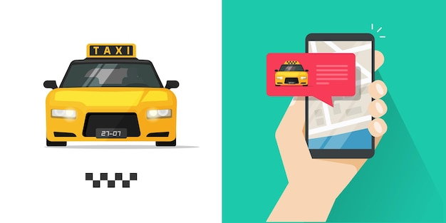 Taxi mobile cell phone order service online message and map location on screen with luxury taxicab