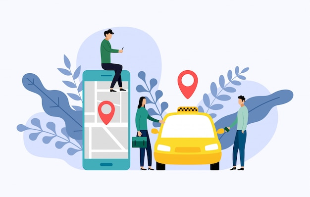 Taxi, mobile city transportation, business illustration