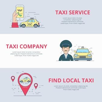 택시 모바일 서비스 검색 드라이버 모바일 앱 응용 프로그램 아이콘 선형 평면 스타일 웹 사이트 벡터