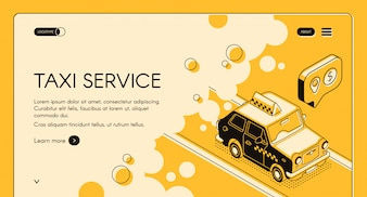 Taxi online ordering service with trip cost calculation web banner or landing page