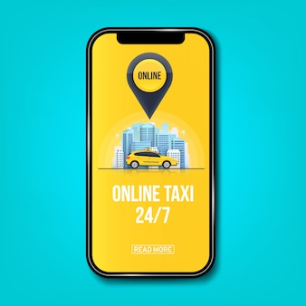 Taxi online service banner for app, urban city skyscrapers