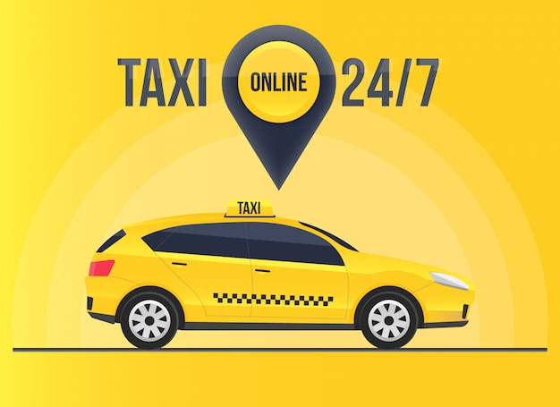 Taxi online service banner, urban city skyscrapers