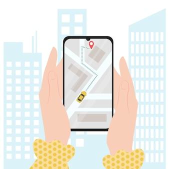 Онлайн-сервис такси с использованием мобильного телефона, плоский мультяшный смартфон с желтой кабиной и картой улиц
