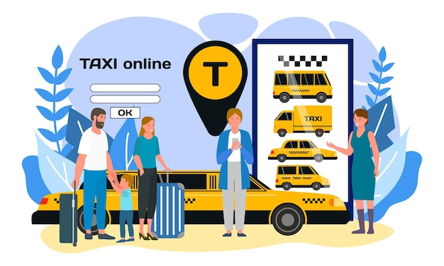 タクシーオンライン、ベクトルイラスト。インターネットモバイルサービスを備えたフラットなスマートフォン、車の近くに立っている人々のキャラクター、ロケーションアイコン付きの輸送。男は電話で車を注文し、家族は荷物を持っています。
