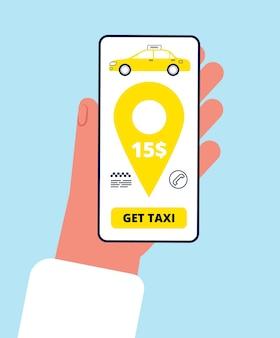 オンラインでタクシーを注文します。電話を持っているスマートフォンアプリの手とボタンを押してタクシーアプリケーションの概念を呼び出します。