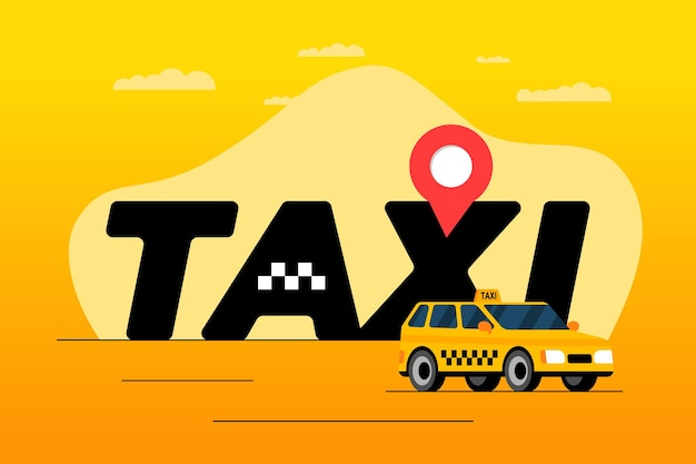 Taxi ordering and navigation service adertising poster concept geotag gps location pin arrival