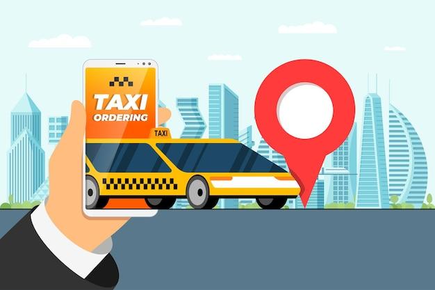 택시 주문 서비스 앱 개념 손을 잡고 위치 태그 gps 위치 핀이 있는 스마트폰