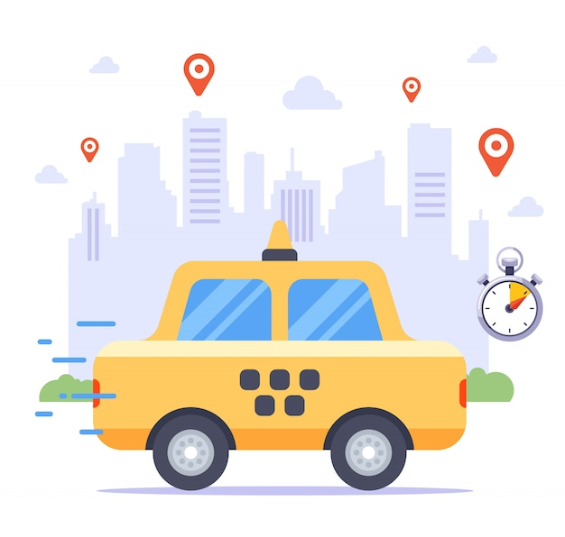 Такси едет на заказ на фоне города. много тегов заказа клиента.