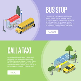 Taxi and school bus station isometric 3d posters