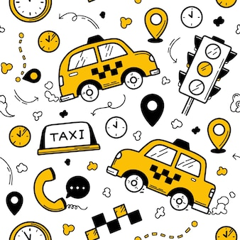 Taxi seamless pattern in the doodle style with traffic light and cars