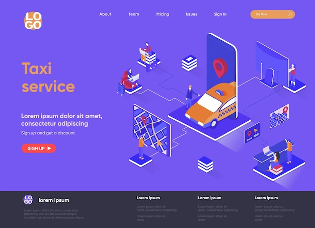 Taxi service 3d isometric landing page website   illustration with people characters