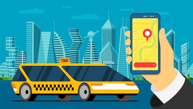 택시 서비스 앱. 지도에 위치 정보 태그 gps 위치 핀 도착 주소가 있는 스마트폰과 스마트 도시 경관 도로의 현대적인 노란색 자동차를 들고 있는 손. 온라인 택시 응용 프로그램 평면 벡터 일러스트를 얻을