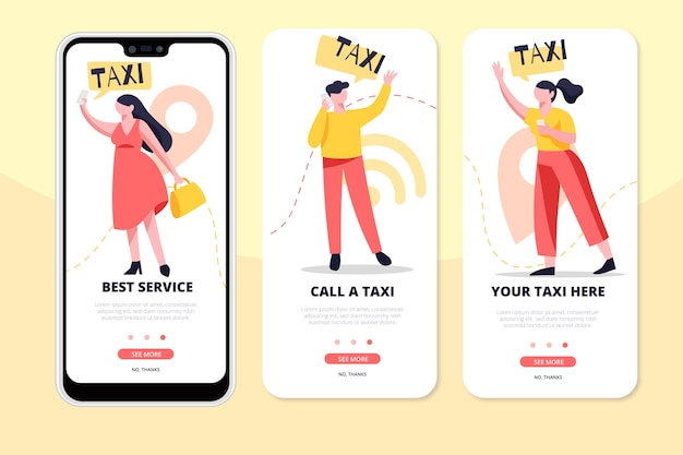 Taxi service app screens on phone