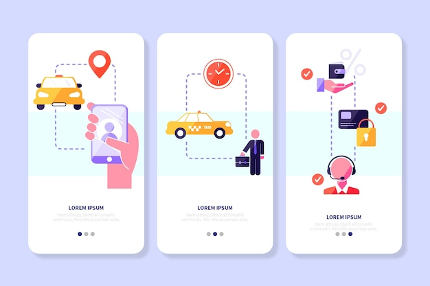 Taxi service app screens with mobile phone