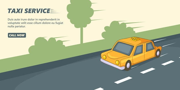 Taxi service banner horizontal, cartoon style