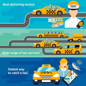 Taxi service banner horizontal set. urban transportation. mobile taxi app, traffic and location, map gps.