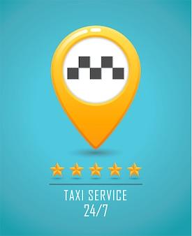 タクシーサービスのバナー。黄色のタクシーアイコン。タクシーの車と黄色の地図ピンは青の背景にサインオンします。
