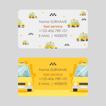 Taxi service business card design,  illustration. fast and reliable cab company contacts.