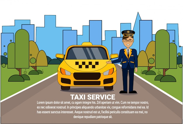 Taxi service concept driver standing at yellow cab
