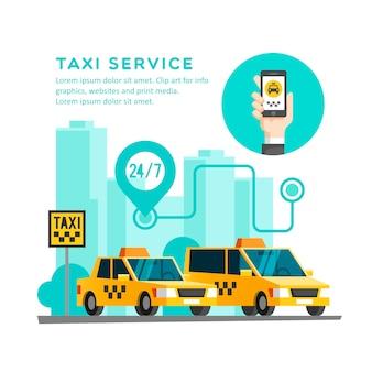 택시 서비스 개념. 스마트 폰으로 손-휴대 전화 화면의 앱.