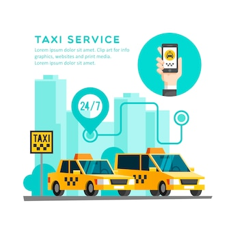 Taxi service concept. hand with smartphone - app on the screen of the mobile phone.