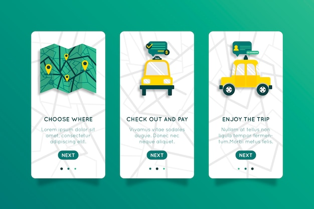 Taxi service concept for onboarding app