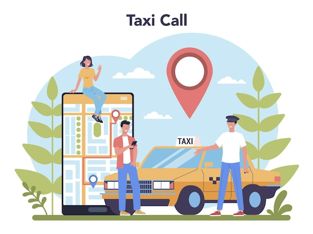 택시 서비스 개념. 노란색 택시 자동차. 내부에 운전사가있는 자동차 택시. 대중 도시 교통에 대한 아이디어.