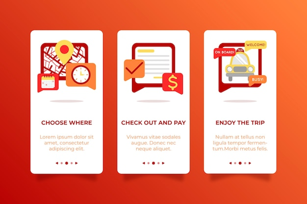 Taxi service design for onboarding app