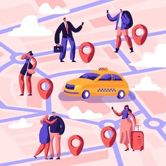 택시 서비스. 노란색 택시의 운전자가 수하물을 가지고 목적지까지 대기하고 승객을 인도합니다. 만화 평면 그림
