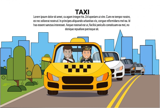 Taxi service driver and male passenger in yellow cab automobile car
