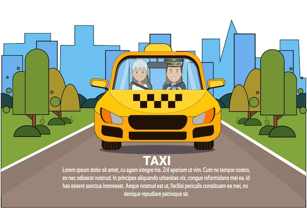 Taxi service driver and woman passenger in yellow cab automobile car