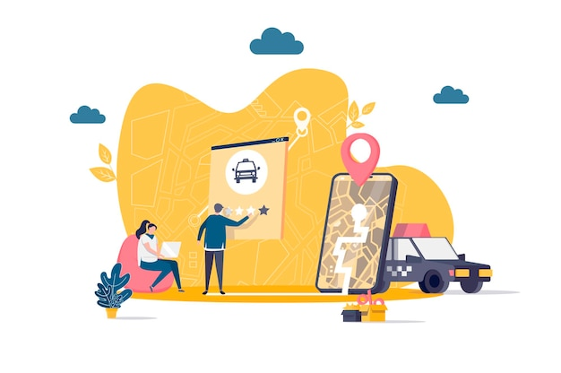Taxi service flat concept with people characters  illustration