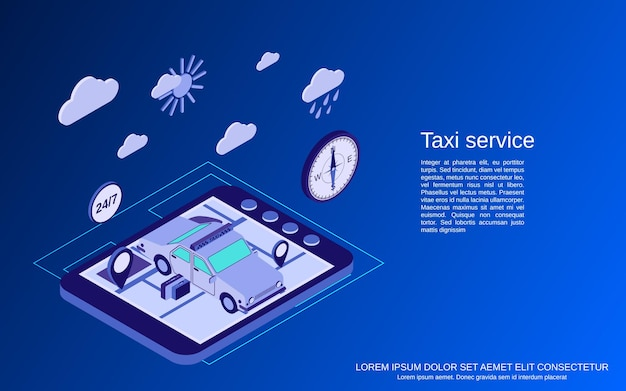 Taxi service flat isometric vector concept illustration