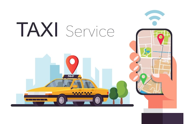 Taxi service. hands with smartphone and application